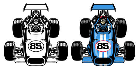 vector of vintage retro formula race car