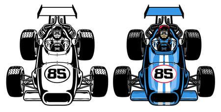 vector of vintage retro formula race car Banco de Imagens - 150666771