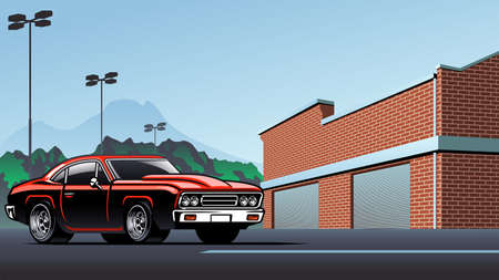 vector of muscle car on the city parking lot