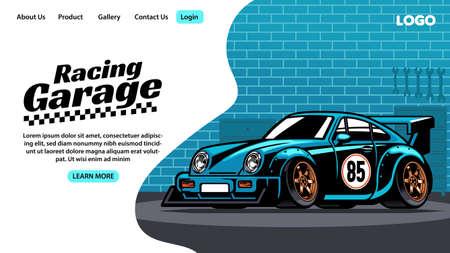 landing page design of racing car garage Vektorgrafik