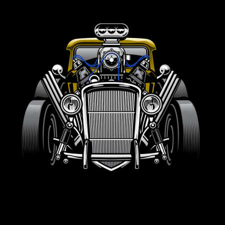 vintage hotrod custom car with big engine Ilustrace