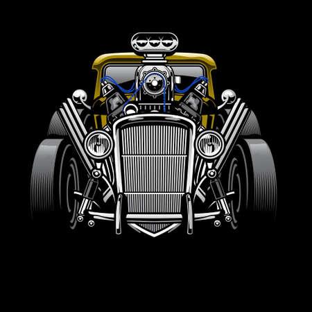 vintage hotrod custom car with big engine 矢量图像