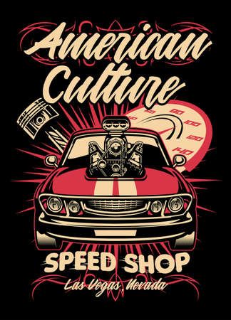shirt design of american muscle car speed shop