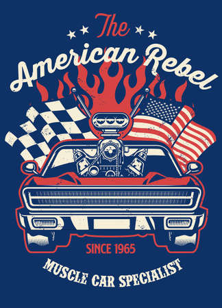 shirt design of muscle car with big engine