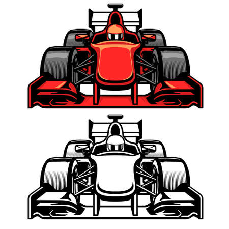 vector of formula car race front side view