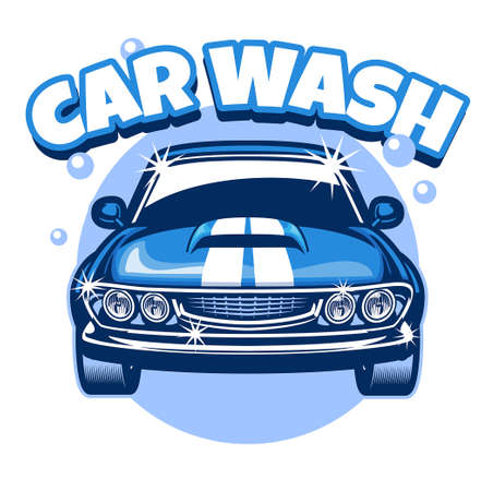 vector of carwash classic car design
