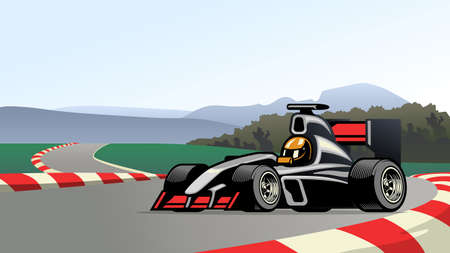 vector of racing formula car on the circuit track