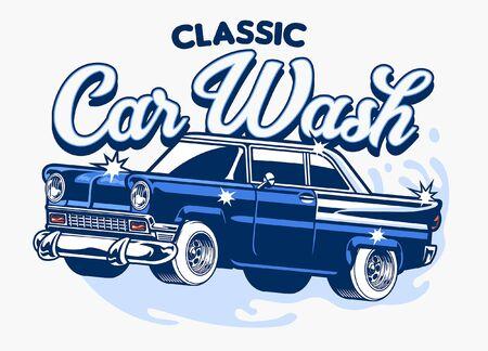 vector of classic car wash design Ilustração