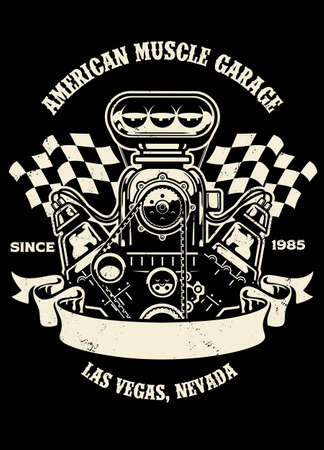 vintage shirt design of american muscle car engine