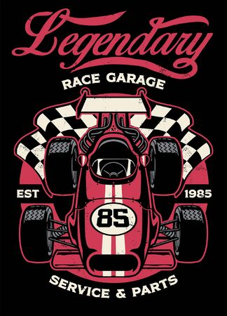 shirt design of vintage formula car racing 矢量图像
