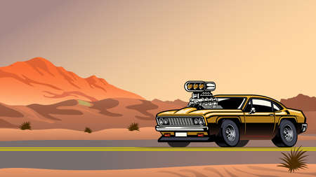 muscle car with big engine on the desert road