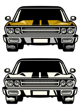 vector of muscle car classic front side look