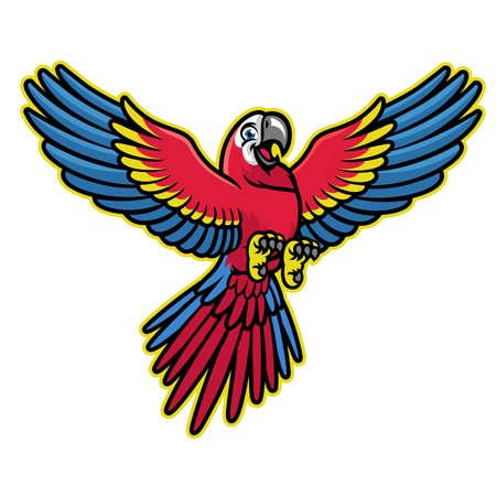 happy cartoon of scarlett macaw parrot Ilustração