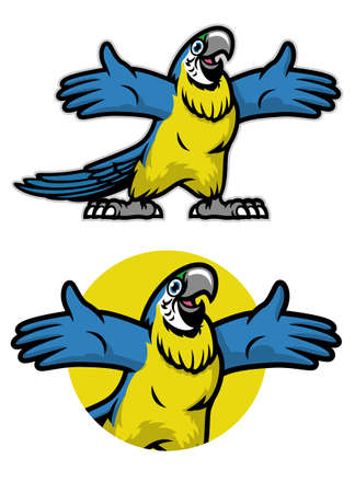 cheerful cartoon blue and gold parrot