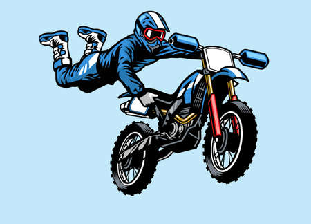 motocross rider jumping on the motorcycle with hart attack trick Banco de Imagens - 153215826