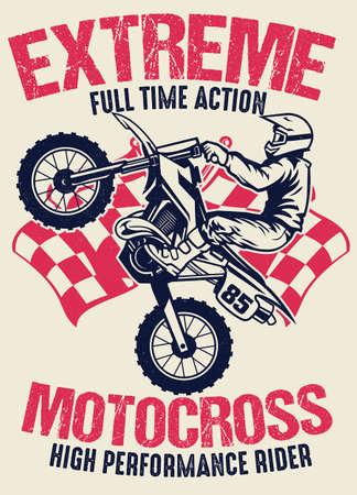 vintage shirt design of motocross Banco de Imagens - 153215499