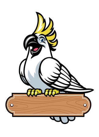 happy cartoon cockatoo bird stand on the blank wood sign