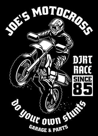 shirt design of motocross garage Ilustração