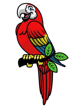 happy scarlett macaw mascot logo