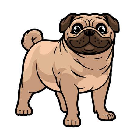 vector of cartoon pug dog mascot Banco de Imagens - 155032056
