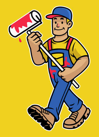 vector of cartoon happy wall painter worker mascot