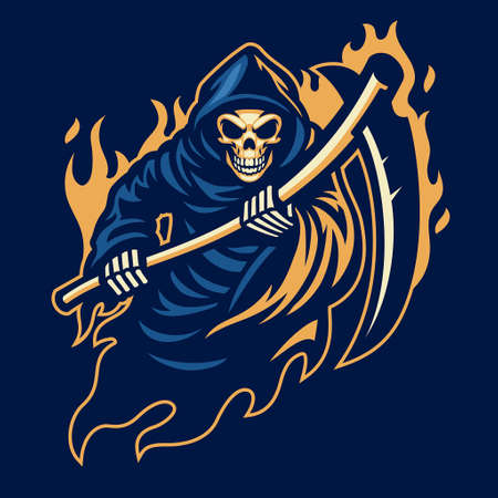 vector of grim reaper mascot with sickle