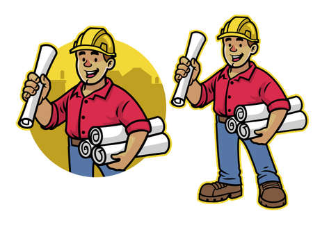 vector of cartoon of architect worker mascot