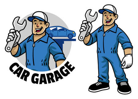 vector of cartoon car mechanic worker mascot