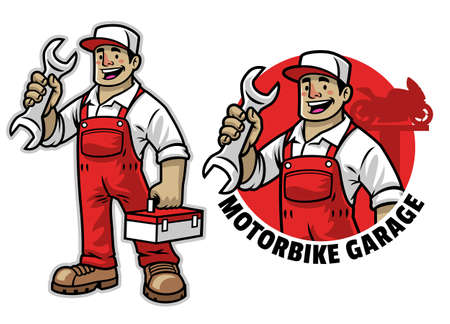 vector of cartoon of happy mechanic mascot