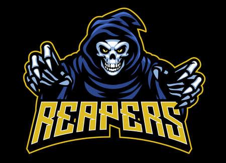 vector of skull grim reaper mascot Vettoriali