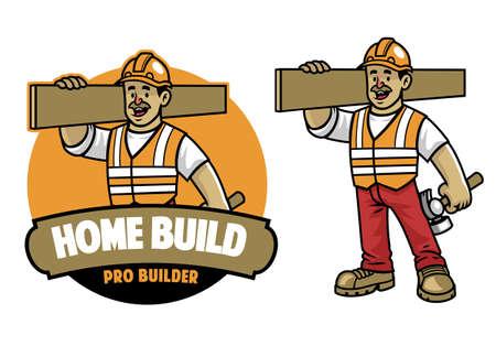 vector of cartoon construction Worker mascot Ilustração