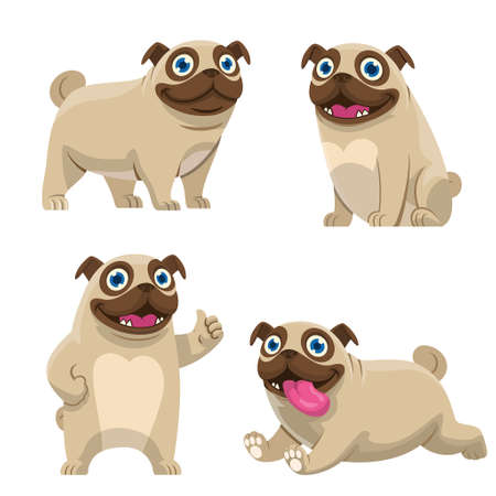vector of set cartoon of pug dog collection Banco de Imagens - 155032068