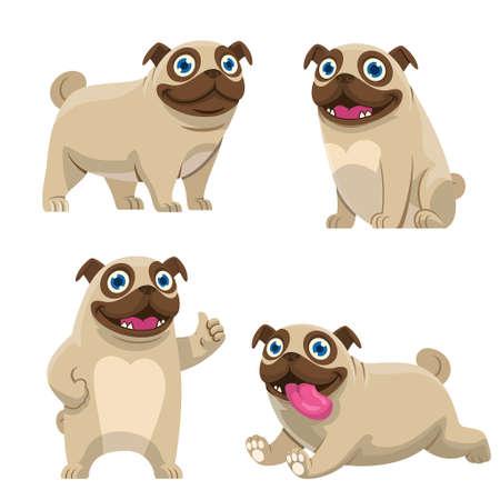 vector of set cartoon of pug dog collection