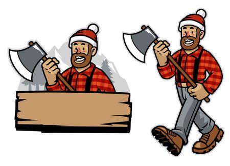 vector of cartoon happy lumberjack worker Banco de Imagens - 155032070