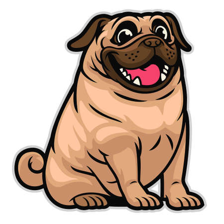 vector of happy cute cartoon pug dog Banco de Imagens - 155032074