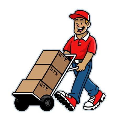 vector of cartoon happy warehouse delivery