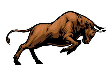 vector of big aggressive muscle bull attacking Banco de Imagens - 155032088