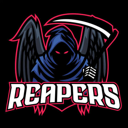 vector of dead mascot reaper with black wings