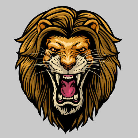 hand drawn angry roaring male african lion head