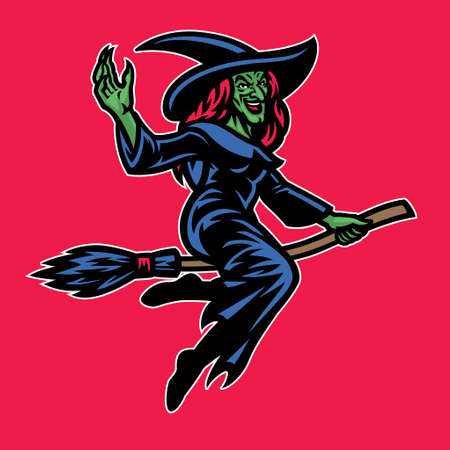 Lady wizard riding the flying broom