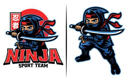 cartoon of ninja warrior with the katana sword