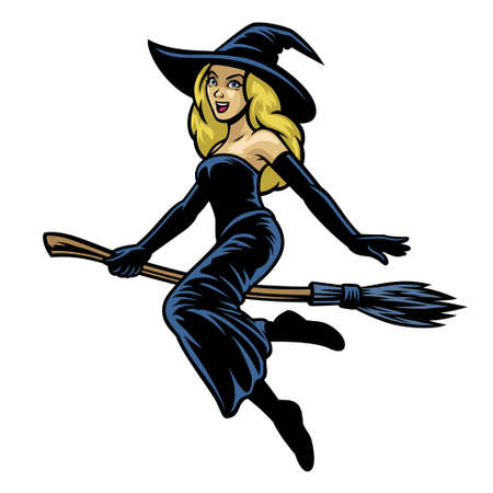 cartoon pretty women cosplay lady witch riding flying broom Banco de Imagens - 156307453