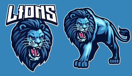 mascot sport of lion in set