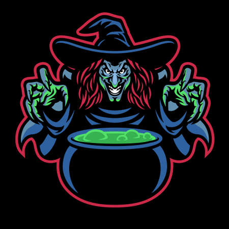 Lady Witch mascot cooking the potion Banco de Imagens - 156307457