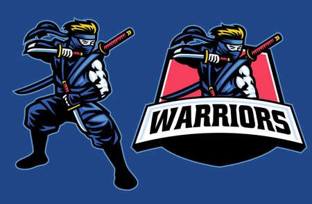 ninja warrior mascot stance pose Banco de Imagens - 156307460