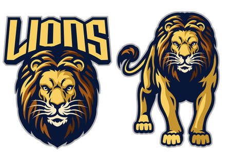 lion sport mascot in set