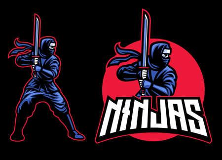 ninja mascot with the katana sword Banco de Imagens - 156307465
