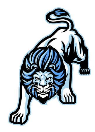 angry crouching white lion mascot