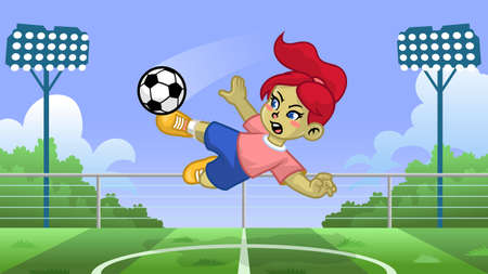 cartoon girl soccer player kicking the ball 向量圖像