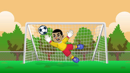cartoon soccer goalkeeper on the soccer field